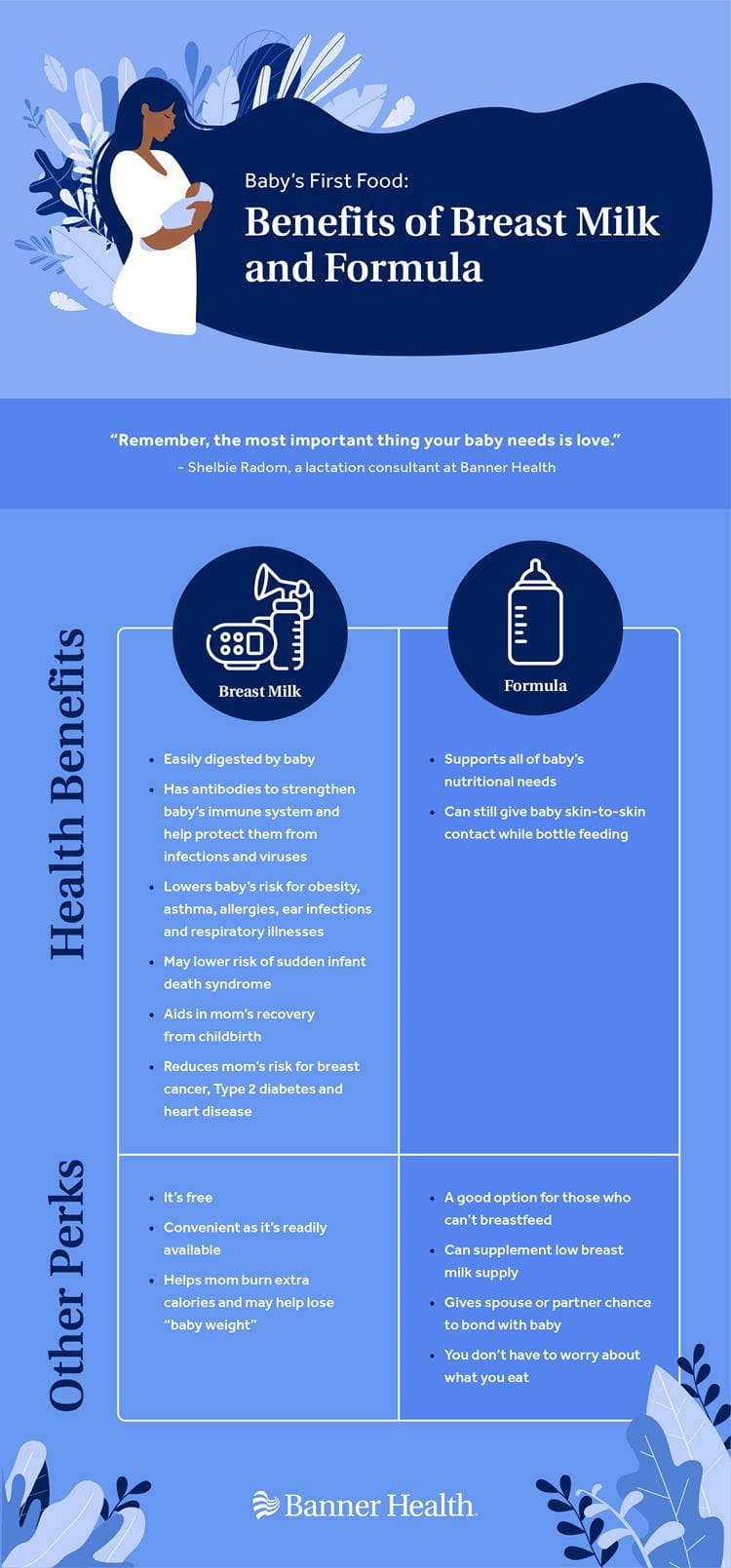Benefits of Breast Milk and Formula Infographic